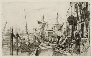 "Limehouse James Abbott McNeill Whistler (American, 1834-1903) Limehouse, 1859 Etching, printed in black on laid paper From ""The Thames Set"" Collection of Dr. Dorrance T. Kelly"