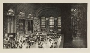 "Wengenroth_Grand Central Stow Wengenroth (American, 1906-1978) Grand Central, 1949 Lithograph, 8 ½ x 15 ¾"" Collection of Dr. Dorrance T. Kelly"