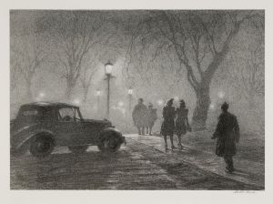"Lewis_Misty Night Martin Lewis (American, 1881-1962) Misty Night, Danbury, 1947 Lithograph,11 x 15 ¼"" Collection of Dr. Dorrance T. Kelly ©Estate of Martin Lewis"