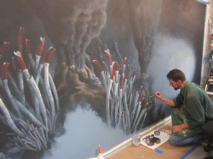 _Display Background  Bruce Museum Exhibition Preparator Sean Murtha painting  hydrothermal vent display background.  Photo by Sean Murtha