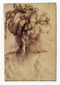 Jacopo Ligozzi (Italian, 1547–1627) Head of a Woman with Elaborate Headdress From the collection of Helen-Mae and Seymour Askin