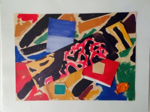 Ken Cornet, Mussorgsky Pictures at an Exhibition, 2014, 11 x 8.5. Gouache collage on Paper.