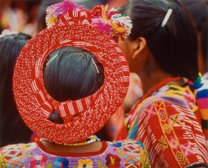 "Theodore Nierenberg (1923 – 2009) Guatemala, back of young girl's head, red head wrap Photograph, 15.25""H x 20""W, Gift of Martha Nierenberg, Bruce Museum Collection, 2014"