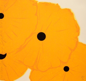 Donald Sultan, Yellow Poppies September 12, 2013, 2013, 8 color screen-print with flocking, courtesy Mary Ryan Gallery. Image courtesy of the artist and Mary Ryan Gallery, New York.