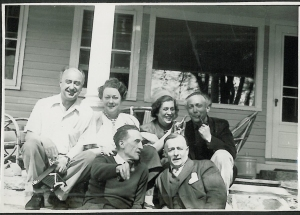 Photo of Yves Tanguy and his artist friends (Back: Yves Tanguy, Kay Sage, Maria Martins and Frederick Kiesler, Front: Marcel Duchamp and Enrico Donati). Photo courtesy of Andre Cariou.