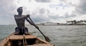 Canoe Leaving Fort at Anomabo