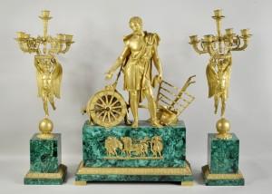 1214053 Malachite & Bronze Three Piece Clock Garniture