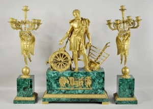 1214053 Malachite & Bronze Three Piece Clock Garniture