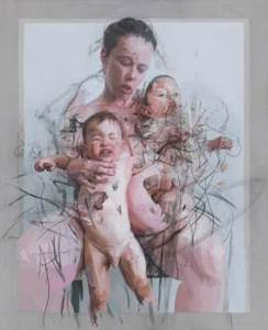 Image:  Jenny Saville The Mothers, 2011 Oil and charcoal on canvas, 106 5/16 x 86 5/8 in. Collection of Lisa and Steven Tananbaum © Jenny Saville.