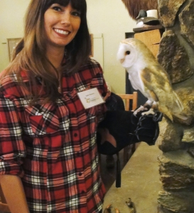 Milton the Barn Owl welcomes guests to the Connecticut Audubon Society's Adirondack Night, hosted annually at the Connecticut Audubon's Society's Center at Fairfield.